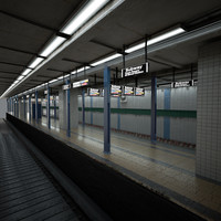 subway station platform 3d model
