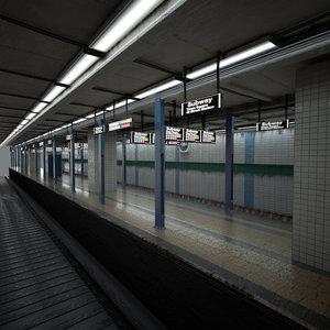 subway station platform 3d model