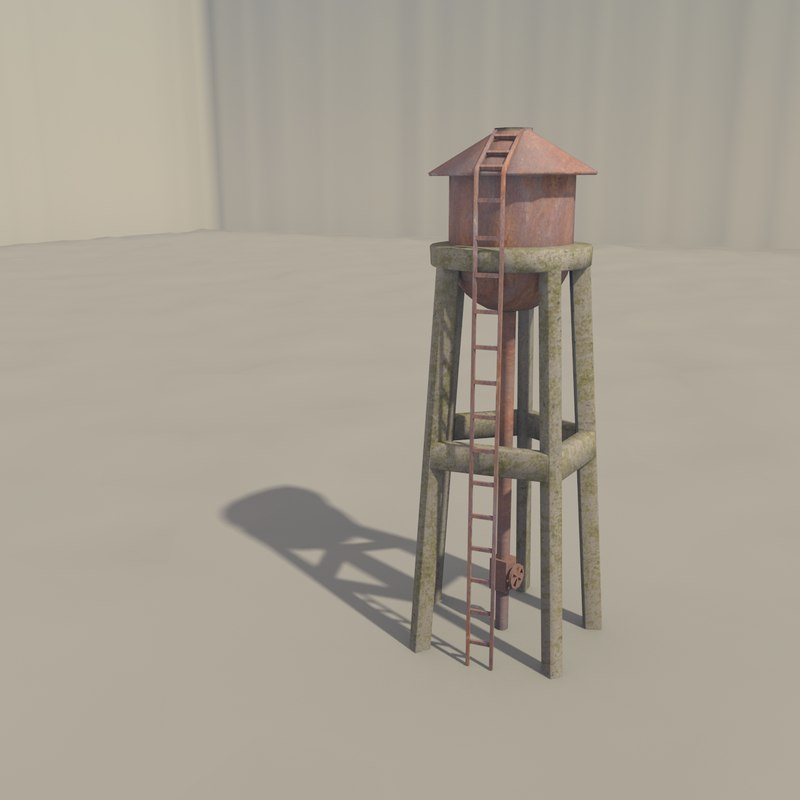 3d old water tank tower