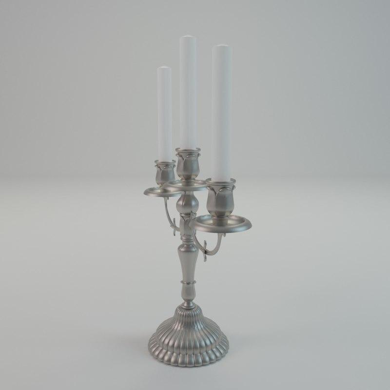 vintage candle holder 3d c4d