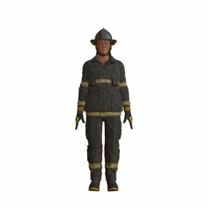3d firefighter polies rigged model