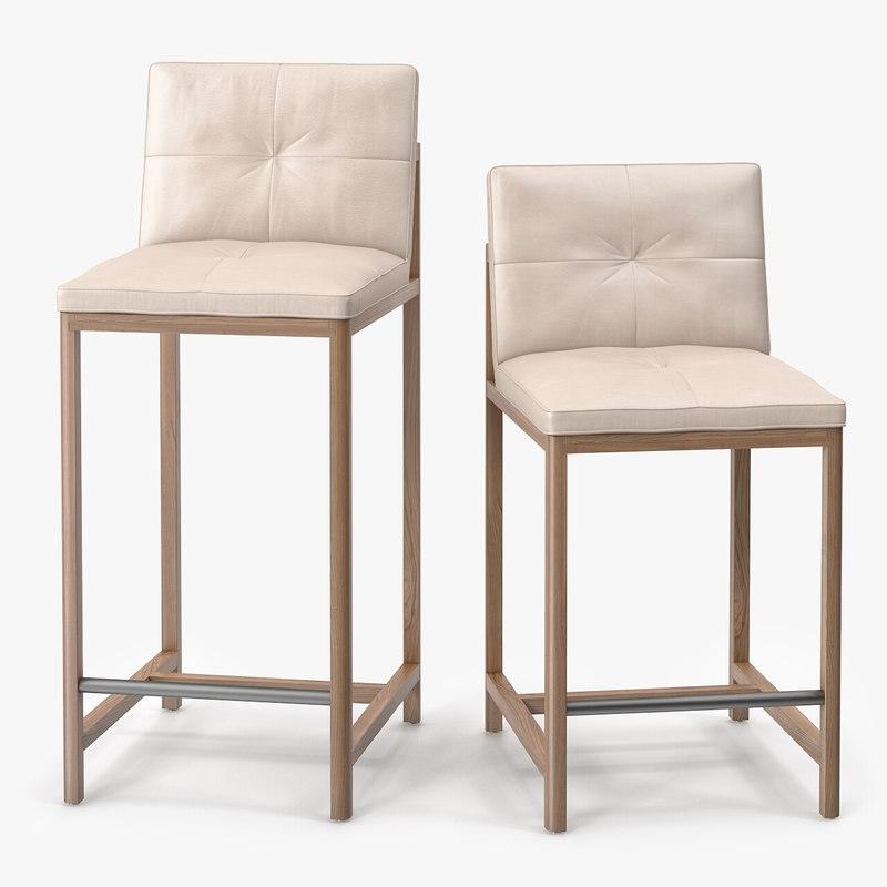 3ds wood frame bar stool