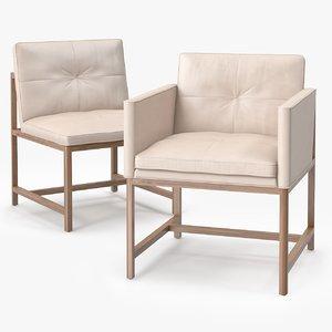 obj wood frame chair armless