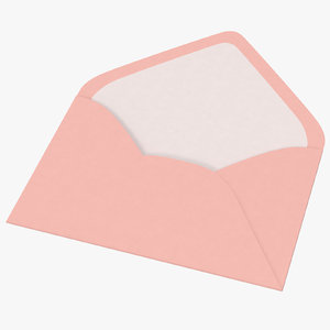 baby shower envelope open 3d model