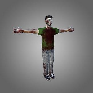 zombie male 3d 3ds