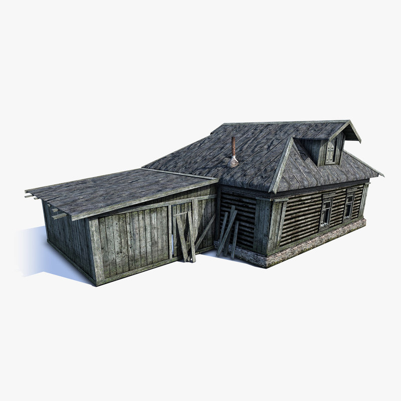 low-poly russian village wooden house 3d model