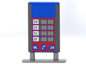 gas station billboard 3d model