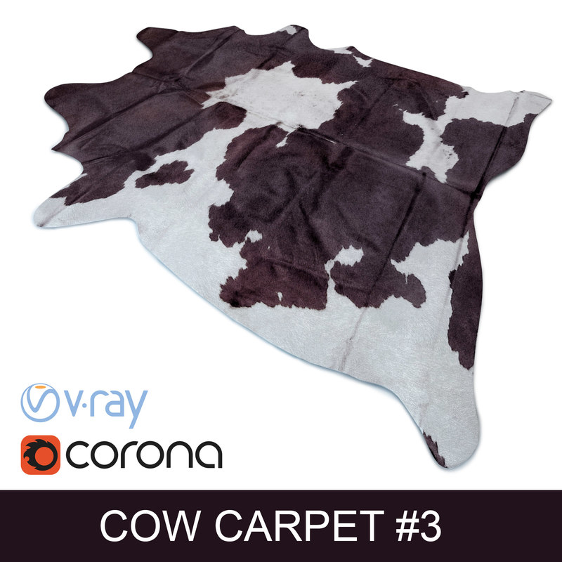 3d cowhide rug photorealistic interior model