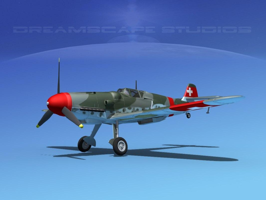 3d messerschmitt bf-109 fighter model