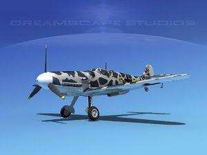 messerschmitt bf-109 fighter 3d dxf