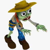 toon cowboy zombie character 3d max