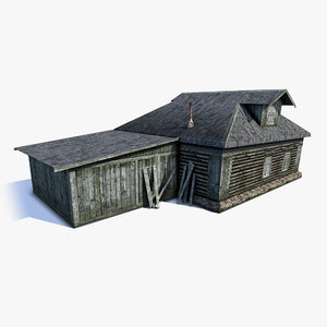 low-poly russian village wooden house 3d 3ds
