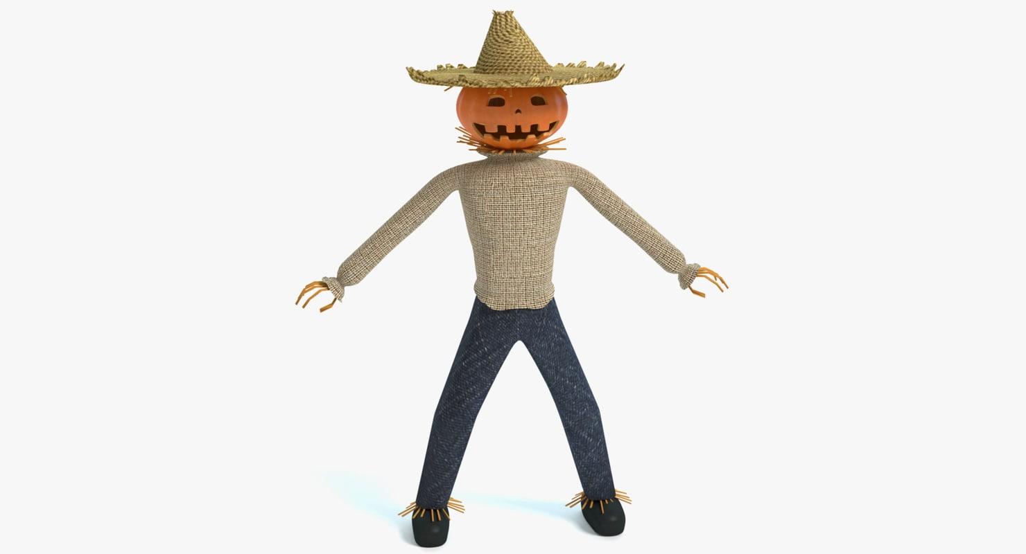 3d model jack-o-lantern scarecrow