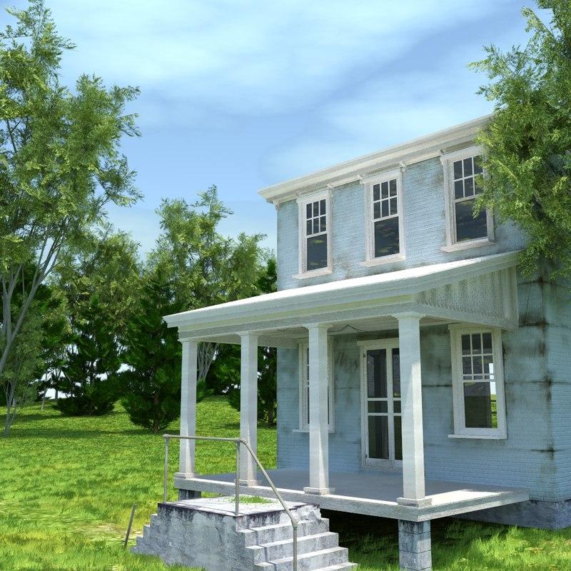blue house 3d obj