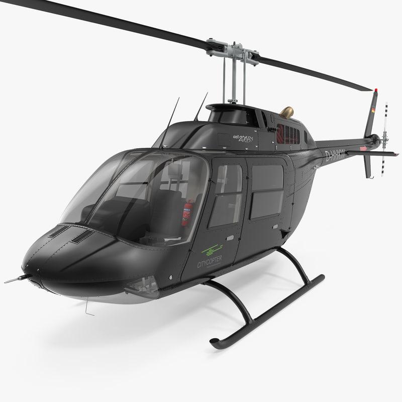 3d model of bell 206b 3 jetranger