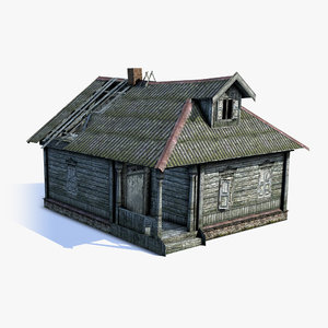 3d model low-poly russian village wooden house