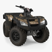 Honda Quad Bike Rigged 3D Model