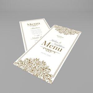 3d obj wedding menu
