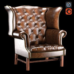 chesterfield wing chair 3d model