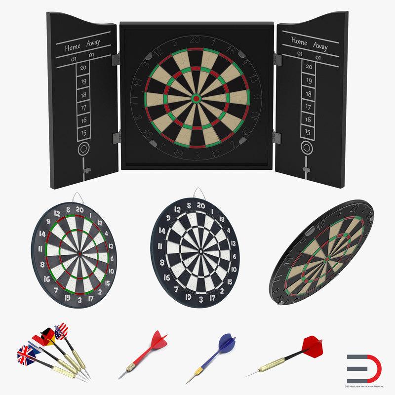 3d dart boards needles modeled