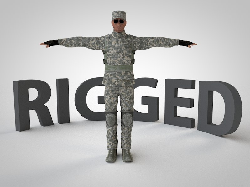3d model rigged soldier
