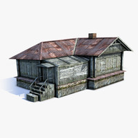3d low-poly russian village wooden house model