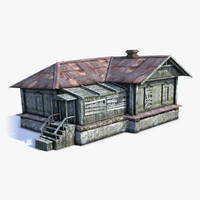 low-poly russian village wooden house 3d obj