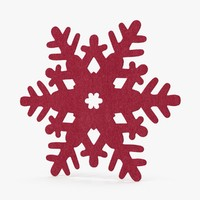 red decorative snowflake 3d max