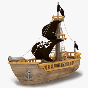 cartoon pirate ship 3d max