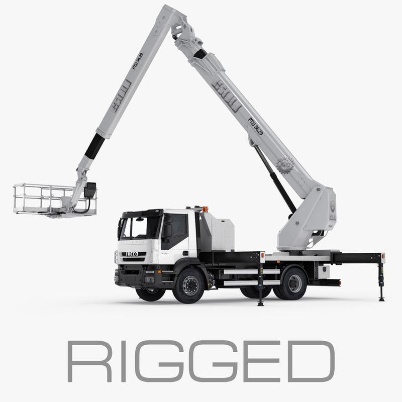 3d truck aerial platform rigged