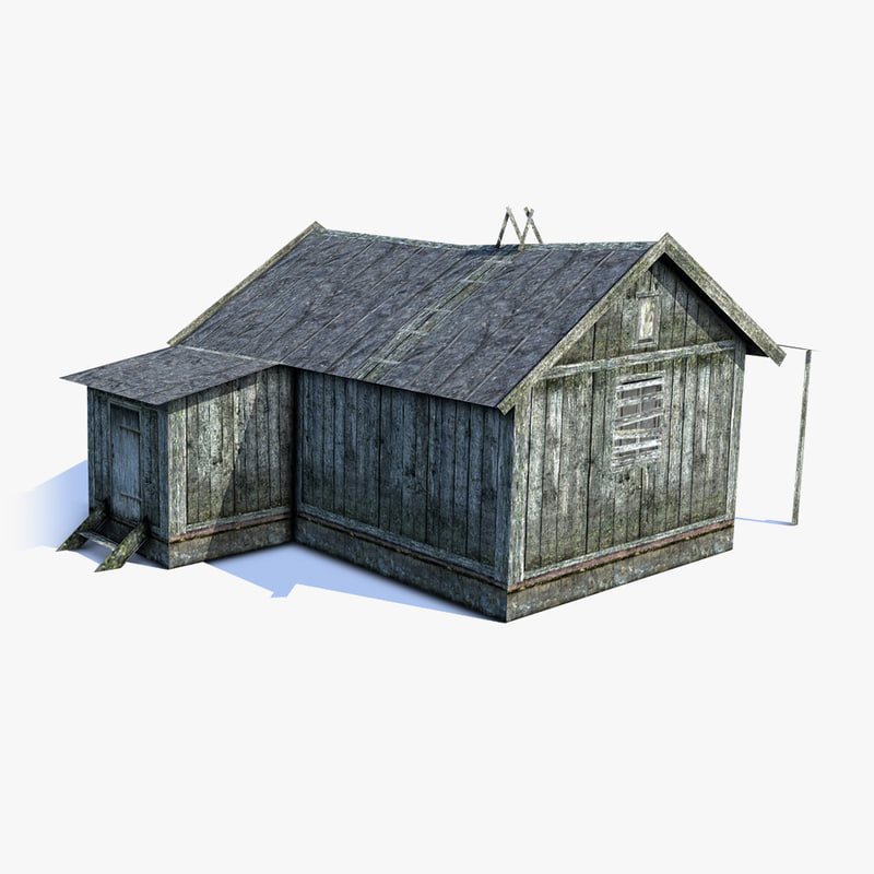 low-poly russian village barn max