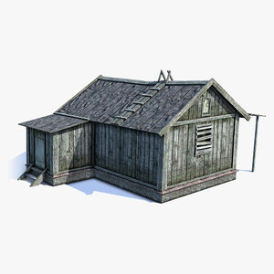 low-poly russian village barn 3ds