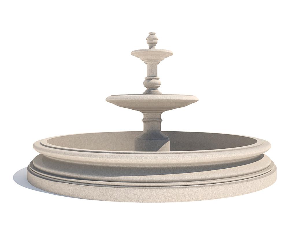 classic fountain 3d dwg