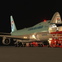B 747-400F Korean Air Cargo Loading Operation Scene