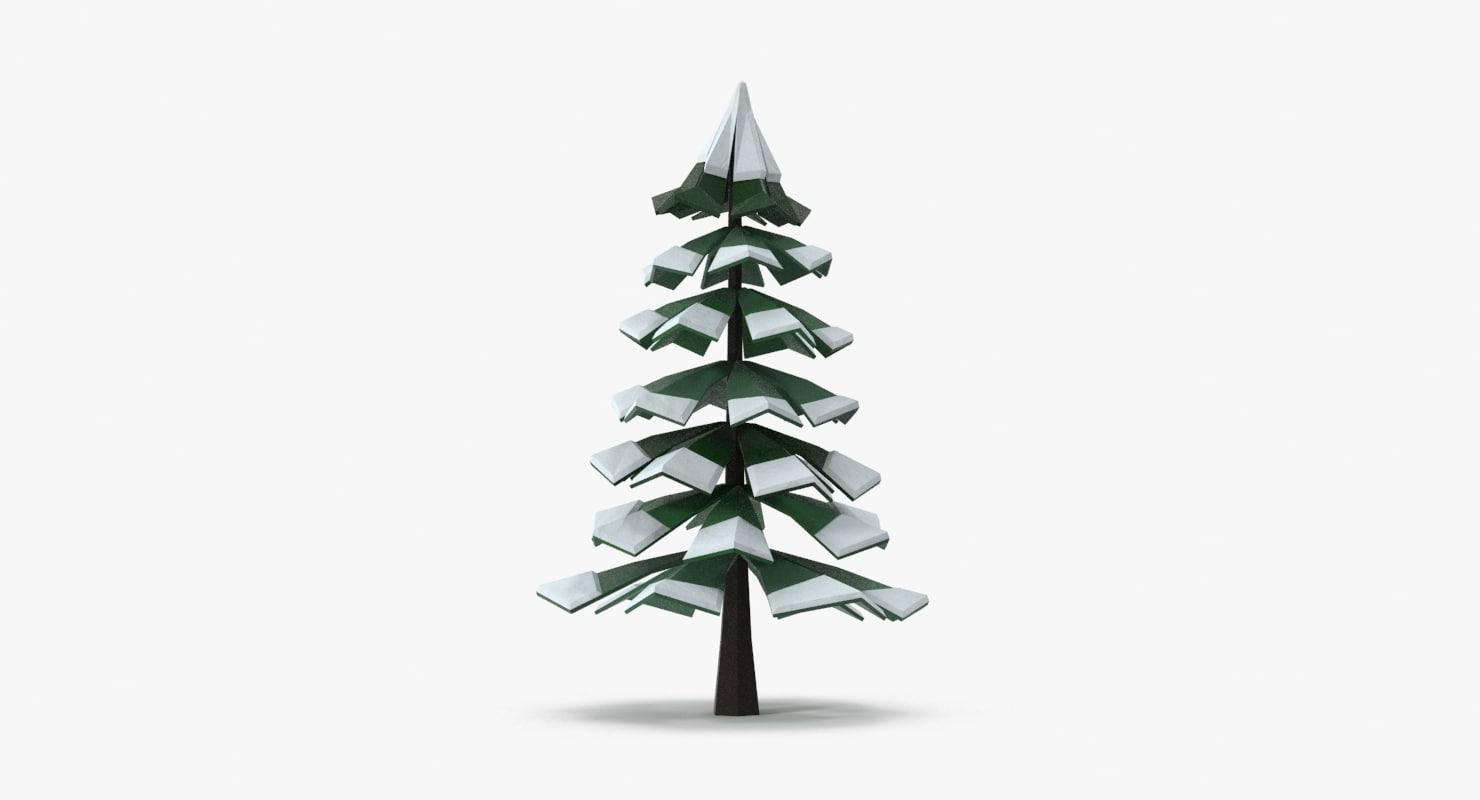 snowy pine 03 3d max