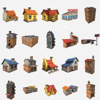cartoon house pack 3d model