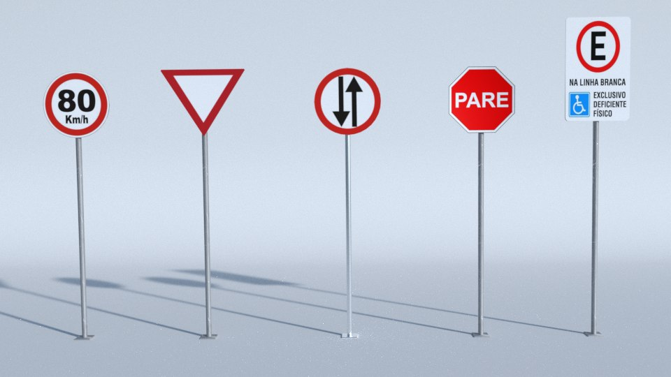 3d blend road signs