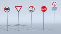 3d blend road signs