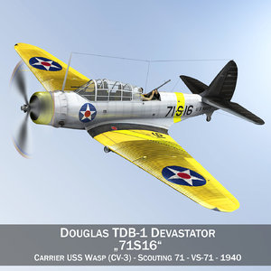 douglas tdb-1 devastator - 3d c4d
