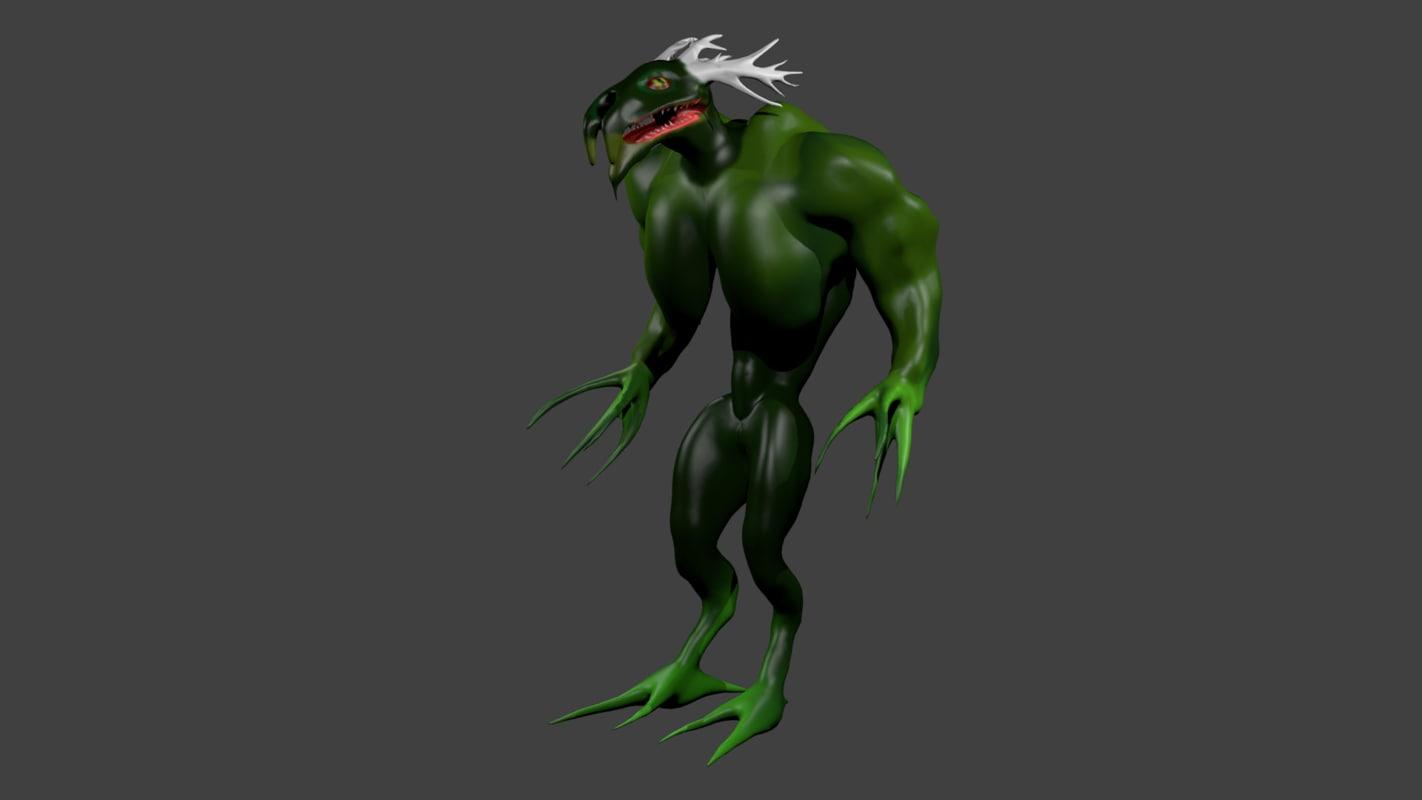 rigged monster alien 3ds