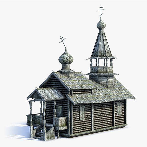 low-poly russian village church 3d model