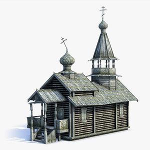 low-poly russian village church 3d model