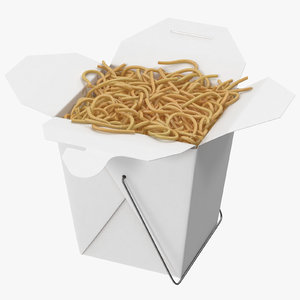 3d model chinese takeout box open