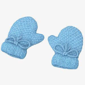 newborn mittens 01 blue 3d obj