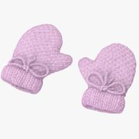 3d model newborn mittens 01 pink
