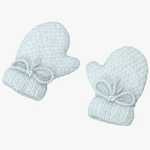 3d model newborn mittens 01 white