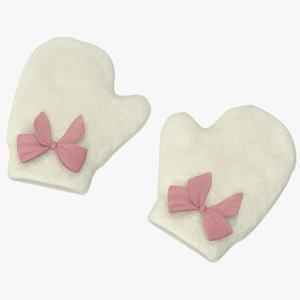 newborn mittens 03 pink 3d model