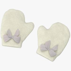newborn mittens 03 white 3d model