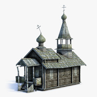 3d low-poly russian village church