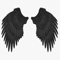 realistic angel wings black 3d max